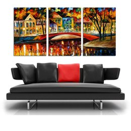 Leonid Afremov Canvas Prints Australia - Leonid Afremov : Stone Bridge -2,3 Pieces Home Decor HD Printed Modern Art Painting on Canvas (Unframed Framed)
