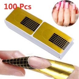 $enCountryForm.capitalKeyWord Australia - 100pcs Golden Nail Art French Tips Sculpting Acrylic UV Gel Tips Extending Nail Tools Extension Forms Guide DIY Kit