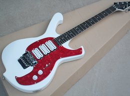 Floyd Rose White Australia - White Unusual Shape Electric Guitar with 3H Pickups,Red Pearl Pickguard,Floyd Rose,Chrome Hardwares,offering customized services
