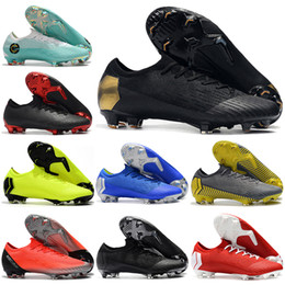 05ce6fad317f6 Nuevos Botas de fútbol para hombre con bajo tobillo Negro Lux CR7 Vapores  mercuriales XII VII Elite FG Zapatos de fútbol Superfly 360 Neymar ACC