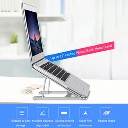 Discount macbook air silicone - Aluminum Silicone foot Laptop Notebook Stand Tablet Phone Holder Ajustable for Tablet for MacBook Pro Air Book up to 17&