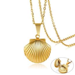 $enCountryForm.capitalKeyWord Australia - Trendy Shell Floating Locket Necklace Pendant for Women Jewelry Gold Color Vintage Photo Charm Female Necklaces