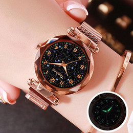 watches roses NZ - Ladies Dress Watches Magnetic Starry Sky Women Wristwatch Luxury Rose Gold Female Quartz Clock Reloj Mujer Relogio Feminino 2019 T190619
