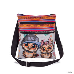 China New Product Woman Package Jacquard Weave Spiraea Owl Shopping Bag Leisure Time Fashion Single Shoulder Canvas Bag Factory supplier new packaging products suppliers