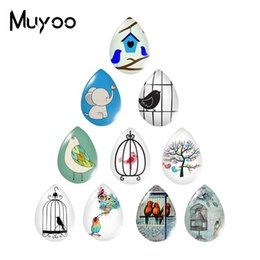 lovely heart photos Australia - 2019 New Lovely Bird With Birdcage Tear Drop Cabochon Birds Glass Cabochons Art Photo Hand Craft Jewelry