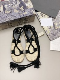 2020 best-selling show women Granville espadrille in Oblique Embroidered Cotton, lace-up sandals Rope wedge and thin rubber sole Flat shoes on Sale