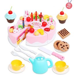 toy play food NZ - wholesale Pretend Play Fruit Birthday Candle Cake Cutting Music Casual Unisex Lights Kitchen toy set for children Food Toys