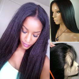 yaki human hair lace front wigs Australia - Yaki Straight Human Hair Lace Front Wigs 150% Density Brazilian Virgin Hair Wigs With Baby Hair Pre Plucked Bleached Knots