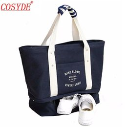 ladies soft canvas shoes Canada - Cosyde Fashion Casual Canvas Women Shoulder Bag Shoes Pocket Large Capacity Lady Travel Handbag Convenient Storage Tote Hand Bag