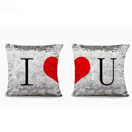 Valentine Pillows Gift UK - 2 pcs Happy Valentine Pillow case Glitter Sequins love pillows I Love You Home Design soft Bed Square Valentine's gift