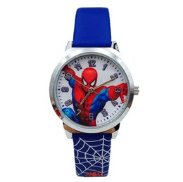 $enCountryForm.capitalKeyWord Australia - High quality Spiderman Watch New Children Cartoon Waterproof Quartz Watch Spiderman Men Boy Leather band Watches Students Birthday Gifts