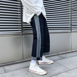 Wholesale new korean man jeans casual for sale – denim 2019 Autumn And Winter New Male Korean Version Of Personality Stitching Contrast Color Fashion Casual Loose Jeans Blue M XL