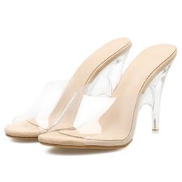 Discount women sexy flip flops - Sexy Women Transparent Plastic High Heel Slippers Strange Heels Summer Peep Toe 2018 New PVC Sexy Women Slippers Shoes