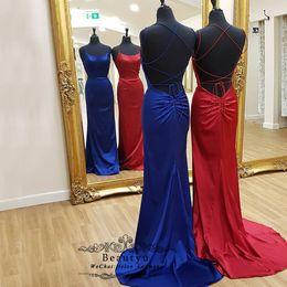 $enCountryForm.capitalKeyWord Australia - Bridesmaid Dresses 2019 Sexy Mermaid Thin Straps Criss-Cross Back Long Bridesmaids Dress Royal Blue Red Elastic Satin Wedding Party Gown