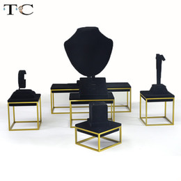 Pendant Displays Australia - High-end Black Velvet Stainless Steel Jewelry Display Ring Earrings Necklace Pendant Bracelet Showcase Jewelry Stand Holder Storage
