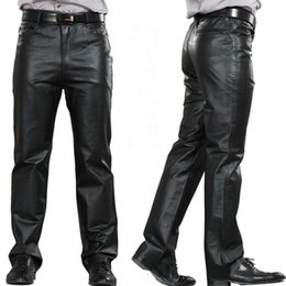 $enCountryForm.capitalKeyWord NZ - M-7xl Plus Size Fashion Leather Pants Motorcycle Pants Men Genuine Leather Straight Pants Men's Flat Zipper Fly Regular