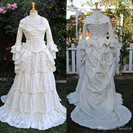 Vintage Victorian Lace NZ - 2019 Victorian Country Wedding Dresses Customized Plus Size A Line Long Sleeve Ruffled Lace Tiered Overskirt Vintage Gothic Bridal Gowns