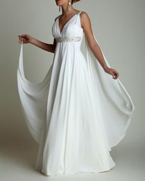 Cheap empire silver wedding dresses online shopping - Bohemian Chiffon Empire Waist Beach Wedding Dresses Deep V Neck Plus Size Greek Bridal Dress Cheap A Line Wedding Gowns Vestidos de Novia