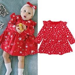 $enCountryForm.capitalKeyWord NZ - Everweekend Kids Girls Print Stars Christmas Holiday Sequins Ruffles Dress Red Color Party New Spring Autumn Sweet Dress