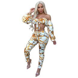 $enCountryForm.capitalKeyWord UK - Women Chain Print Sexy Two Piece Set Long Sleeve Bow Strapless Crop Top and Pencil Pant Club Party 2 Piece Outfits Tracksuit