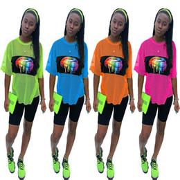 Orange lip online shopping - Women Summer Mesh Tracksuit Short Sleeve Rainbow Lips Print T shirt Shorts Piece Quick Dry Sportswear Jogging Outfits Street Wear C41603