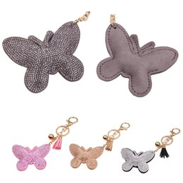 electronic butterflies UK - Free DHL 4 Styles Cute Animal Leather Butterfly Keychain Romantic Rhinestone Car Pendant Phone Key Ring Bag Keychain Accessories D310Q Y