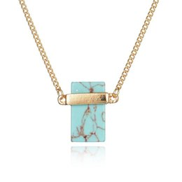 $enCountryForm.capitalKeyWord Australia - Pretty Pendant Necklace Rectangle White Turquoise Sweater Necklaces Women luxury jewelry Crystal Beautifully Stone Quartz Stone Necklaces
