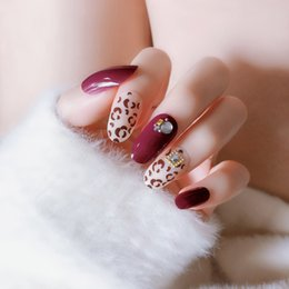 nail fashion trends UK - Fashion 24pcs set Acrylic Fake Fingernails Trend Leopard Design False Nails Simple Middle-long Size Lady Full Nail Tips Patch
