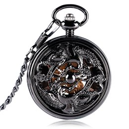 Black Hand Pendant Australia - Vintage Black Hollow Crane Mechanical Hand Winding Pocket Watch Classic Roman Numeral Skeleton Display Pocket Pendant Clock Male