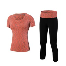 tracksuits for gym men UK - New Women Quick Dry Sport Yoga Shirt+Pant Breathable Tracksuit Jogging Sport Top T-Shirts For Gym Running Fitness Sportswear #305615