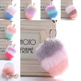 Wholesale Free DHL Styles Wallet Charm Keychain Car Keyring Ice Cream Pompon Girls Plush Key Holder Phone Purse Jewelry Handbag Keyring H586Q Y