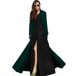 Wholesale long maxi trench coat resale online - Feminino Women Autumn Winter Trench Female Robe Outerwear Manteau Femme Woolen Maxi Long Coat