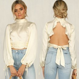 Spandex blouSeS online shopping - 2020 New Spring Women Lantern Sleeve High Collar Blouse Casual Backless Ruffle Solid Tassel Top Lace Up Femme White Shirt Blouse