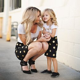$enCountryForm.capitalKeyWord NZ - Family Matching Outfits Children's Clothing Mother Daughter Clothes Kids Short Sleeves Dot T-shirt+Skirts mommy and me clothes