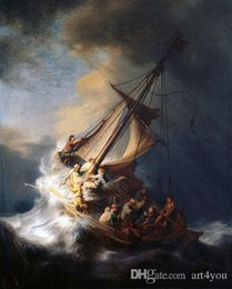$enCountryForm.capitalKeyWord Australia - High Quality Handpainted & HD Print Oil Painting Rembrandt - Christ on sail boat with huge ocean waves - storm Multi Sizes p142