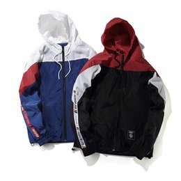 Full Zip Jacket Polyester Australia - Ywsrlm Color Block Patchwork Windbreaker Hooded Jackets Men Hip Hop Full Zip Up Pullover Tracksuit Jacket Fashion Streetwear