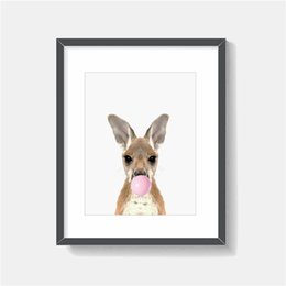 cartoon kangaroos NZ - The kangaroo Blowing Bubble Minimalist Animal Wall Art Canvas Posters Prints Painting Wall Pictures For Office Bedroom Home Decor Artwork