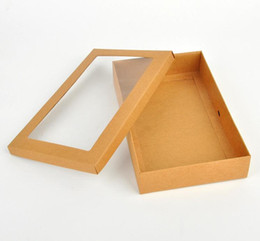 PaPer box Pvc window online shopping - 300pcs cm Kraft paper gift box package with clear pvc window candy favors krafts display package box scarves box SN2718