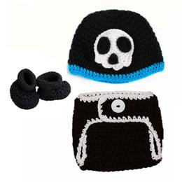 Baby Boy Skull Crochet Beanies Australia - Newborn Knit Pirate Skull Costume,Handmade Crochet Baby Boy Girl Skull Beanie Hat,Diaper Cover,Booties Set,Infant Halloween Photo Props