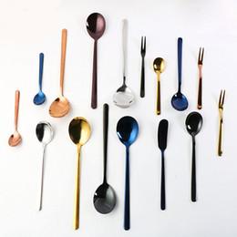 Forks Knives Spoons Australia - Stainless Steel Spoons Fruit Fork Butter Knife Coffee Honey Spoon Home Tableware Dinnerware Cutlery Rainbow Color
