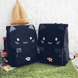 Style Prints Australia - Harajuku Style Cartoon Cat Printing Backpack High School Students Shoulder Bag Women Canvas Backpack Girls Bag Mochila Rucksack