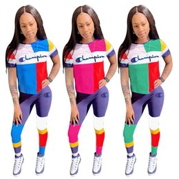$enCountryForm.capitalKeyWord NZ - Patchwork Women's Champions Letter Tracksuit Outfit Short Sleeves Sportswear Color Match T shirt Track Top +Pants Leggings Tights Set C42204