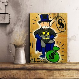 Super Figure Painting NZ - Super Man Money Graffiti Alec Monopolyingly Oil Painting Wall Art Canvas Posters Prints Wall Pictures For Living Room Home Decor