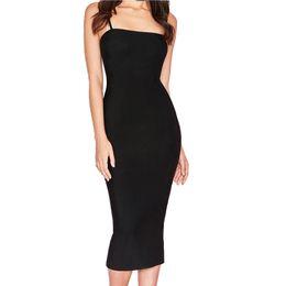 c2e458ebd68 Hashupha Women Strapless Solid Bandage Dress Bodycon Fashion Celebrity Sexy  Club Evening Party Elegant Black New Dresses