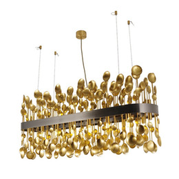 hallway ceiling light fixtures modern Australia - Modern Chandelier LED Copper Spoon Fixture Pendant Ceiling Lamp Hallway Light B250