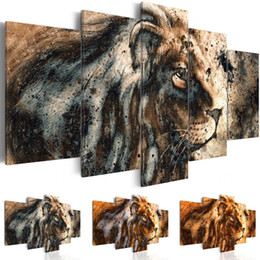 life size pictures Australia - Canvas Art Print Abstract Modern Wild Animals Lions Painting Home Decoration, Choose Color & Size(No Frame )