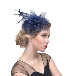 Bridal Wedding Hats Australia - 2019 Purple Bird Cage Net Wedding Bridal Fascinator Hats Feather Black for Masquerade party Prom accessory Free Shipping Handmade