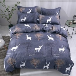 Pink grey king bedding online shopping - Cartoon Grey Trees Deer Bedding Set Twin Queen King Size Girls Kids Boys Teens Children Duvet Cover Flat Bed Sheet Pillowcase
