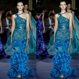 unique sequins evening dresses 2019 - Unique Designer One Shoulder Evening Dresses 2019 New Full Beaded Long Mermaid Pageant Prom Gowns 3D Flower Runway Fashi