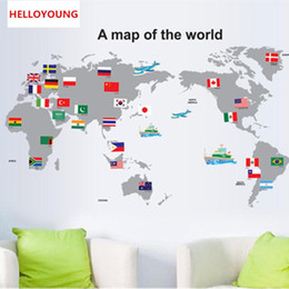 $enCountryForm.capitalKeyWord Australia - DIY Home Decorative The World Map Wall Stickers Waterproof The Study Rural Wallpapers Mural All-match Style